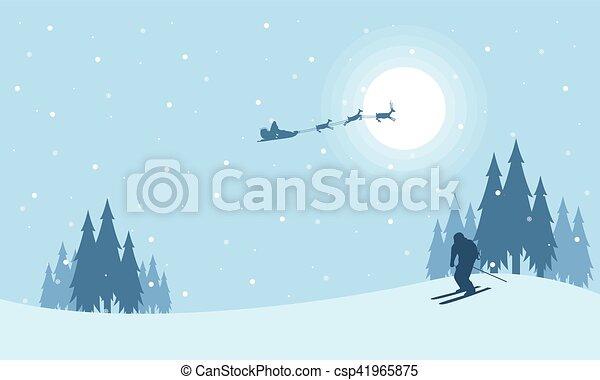 En el tren nocturno de Santa Navidad - csp41965875