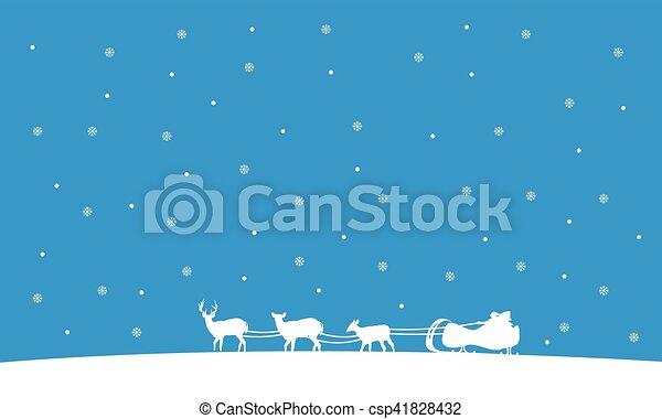 Silueta del tren de Santa Navidad paisaje - csp41828432
