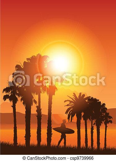 Surfear en un paisaje tropical - csp9739966