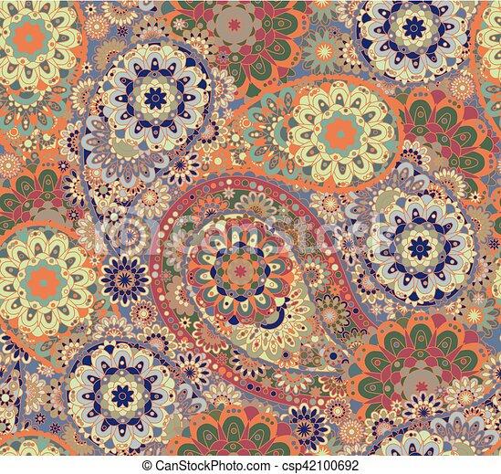 paisley, coloré, oriental, pattern., seamless, arrière-plan., style, vector., floral - csp42100692