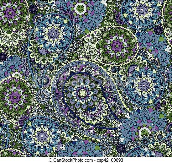 paisley, coloré, oriental, pattern., seamless, arrière-plan., style, vector., floral - csp42100693