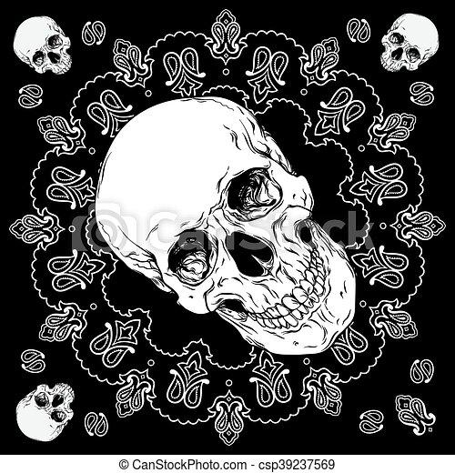 paisley, czaszka, ozdoba, wektor, projektować, czarnoskóry, bandana, biały - csp39237569