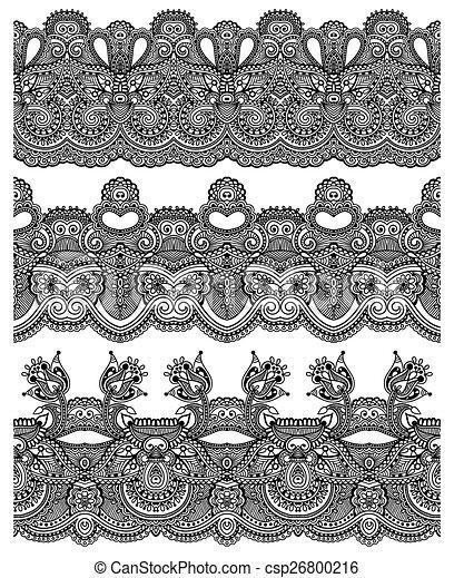 paisley, ensemble, seamless, modèle, raie, ethnique, frontière florale - csp26800216