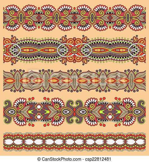 paisley, ensemble, seamless, modèle, raie, ethnique, frontière florale - csp22812481