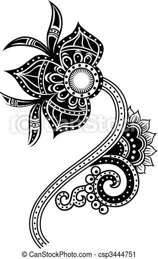 paisley flower illustration - csp3444751