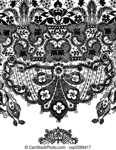 paisley, graphisme, dentelle, illustration - csp3389417