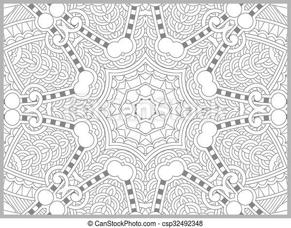 paisley, kleuren, volwassenen, -, boek, ontwerp, bloem, uniek, pagina - csp32492348
