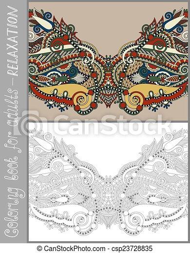 paisley, kleuren, volwassenen, -, boek, ontwerp, bloem, pagina - csp23728835