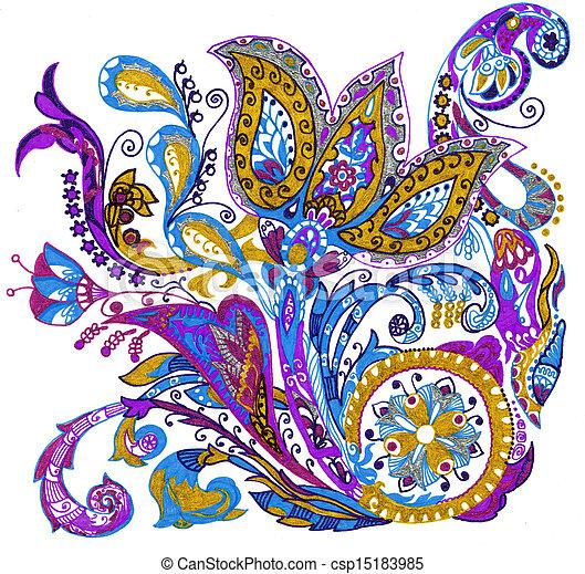 paisley, květ, kreslení, ilustrace, rukopis - csp15183985