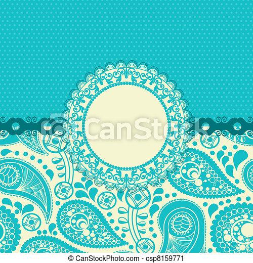 paisley, kwiat, dar, turkus, modny, karta - csp8159771