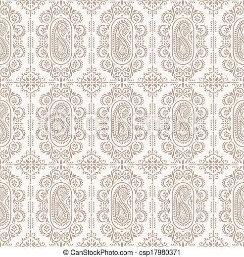 Paisley seamless vector background - csp17980371