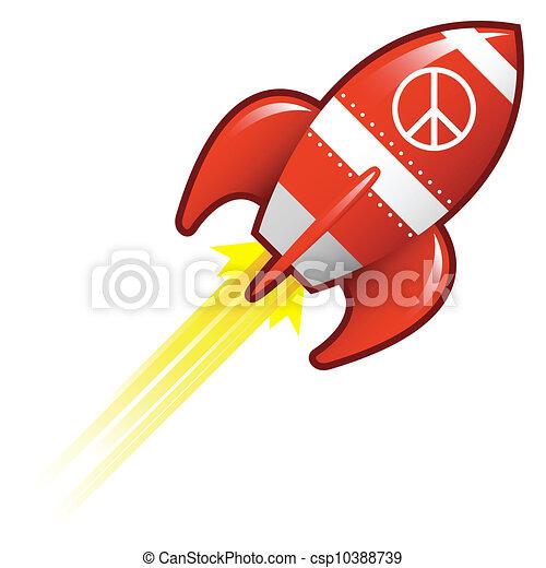 paix, retro, fusée, signe - csp10388739