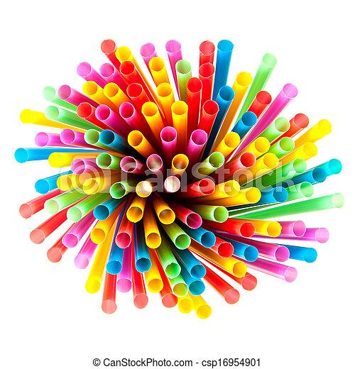 Pajillas de plástico de colores - csp16954901