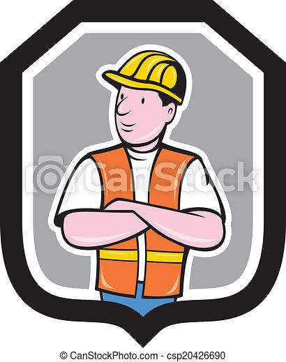 pajzs, munkás, fegyver, szerkesztés, keresztbe tett, karikatúra - csp20426690
