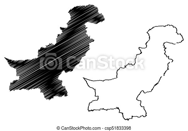Line Art Illustration Style : Pakistan map vector illustration scribble sketch eps