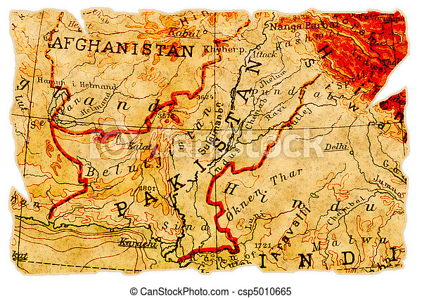 pakistan old map pakistan on an old torn map from 1949 isolated