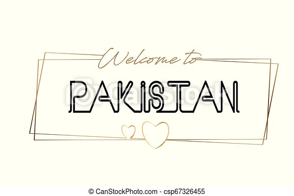 Pakistan Welcome to text Neon lettering typography. Word for logotype, badge, icon, postcard, logo, banner Vector Illustration. - csp67326455
