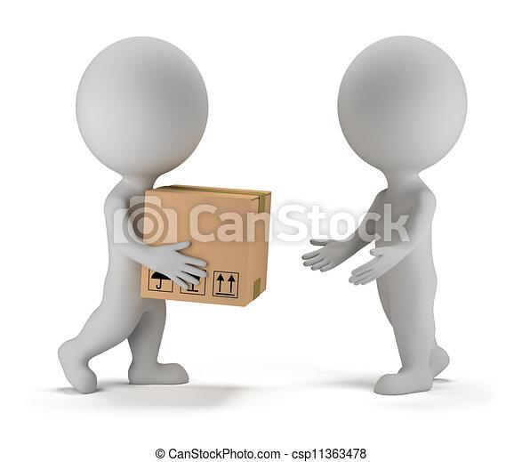 pakket, mensen, -, aflevering, kleine, 3d - csp11363478