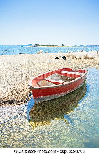 pakostane, pakostane, rudern, -, kroatien, rotes , sandstrand, boot - csp68598768