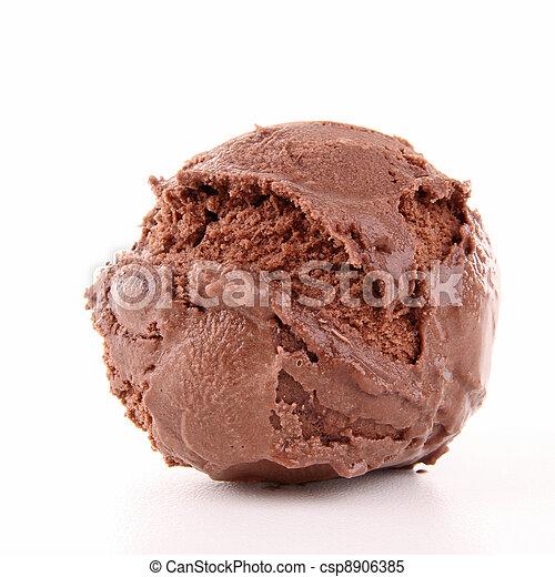 Una cucharada aislada de helado - csp8906385