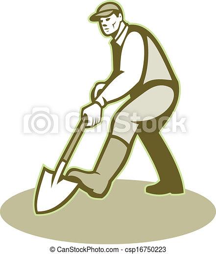 Jardinero cavando pala retro - csp16750223