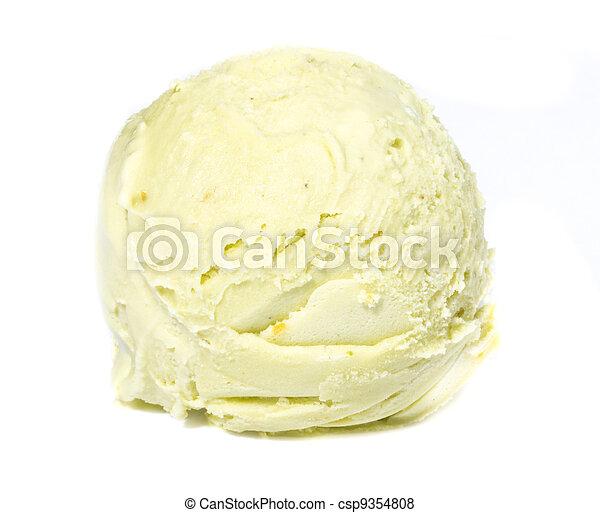 pala, cima, hielo, pistacho, plano de fondo, blanco, crema - csp9354808