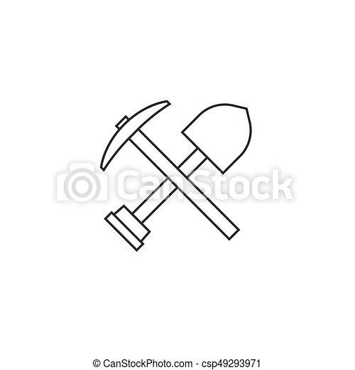 Pico hacha y pala icono, diseño de esquema - csp49293971