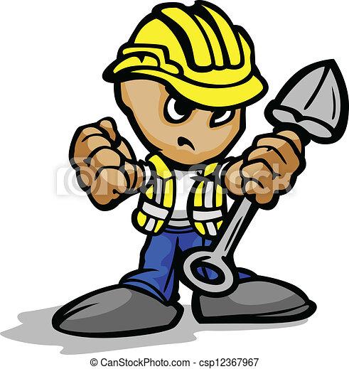 Trabajador de construcción con cara y pala determinada y imagen de vector de dibujos animados - csp12367967