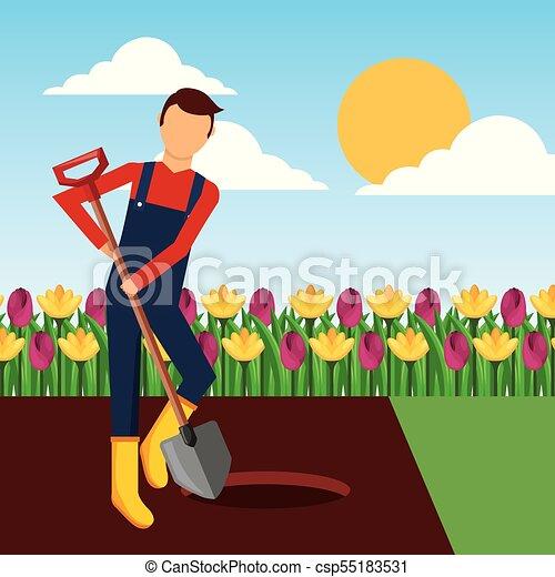Jardinero cavando un agujero con pala en el jardín - csp55183531