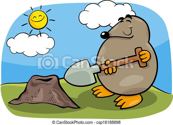 Topo con pala ilustración de dibujos animados - csp16188898
