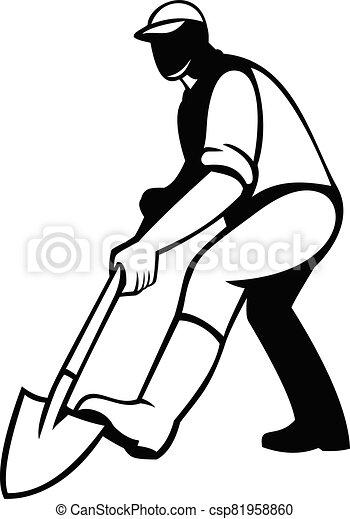 pala, negro, o, cavar, traspaleo, blanco, jardinero, retro, paisajista, pala - csp81958860