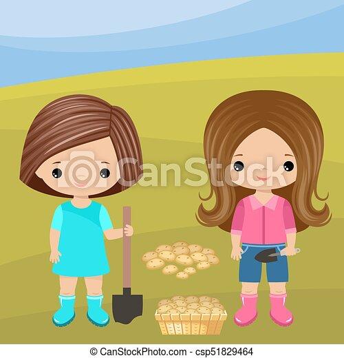Chicas jardineros con una pala - csp51829464