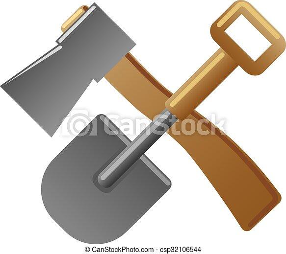 El letrero de pala y hacha - csp32106544