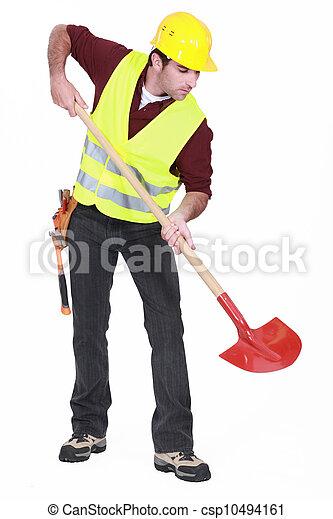 Trabajador con una pala - csp10494161