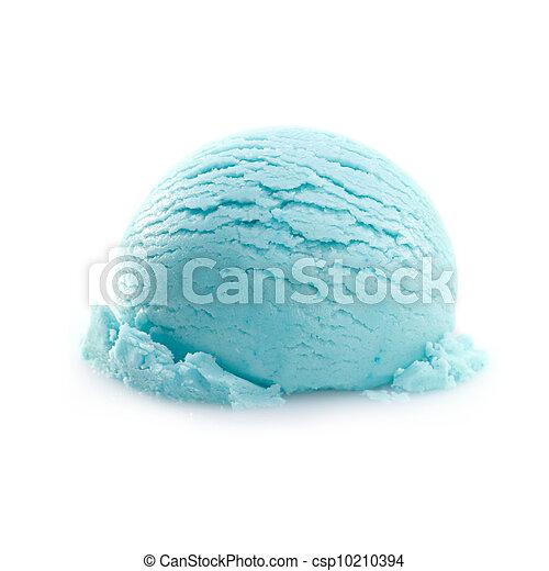 Una cucharada aislada de helado de turquesa - csp10210394