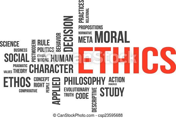 Nube de palabras, ética - csp23595688