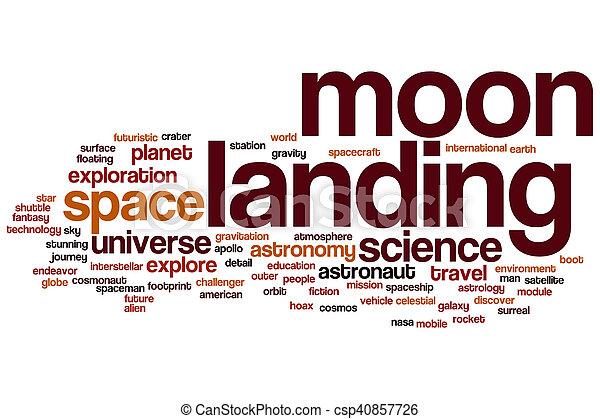 Nube de palabra de aterrizaje lunar - csp40857726