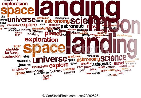 Nube de palabra de aterrizaje lunar - csp72292875