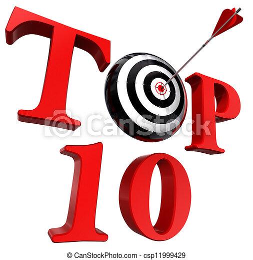 Palabra roja superior diez con blanco y flecha - csp11999429