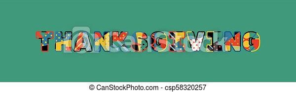 El concepto de Acción de Gracias de ilustración de arte - csp58320257