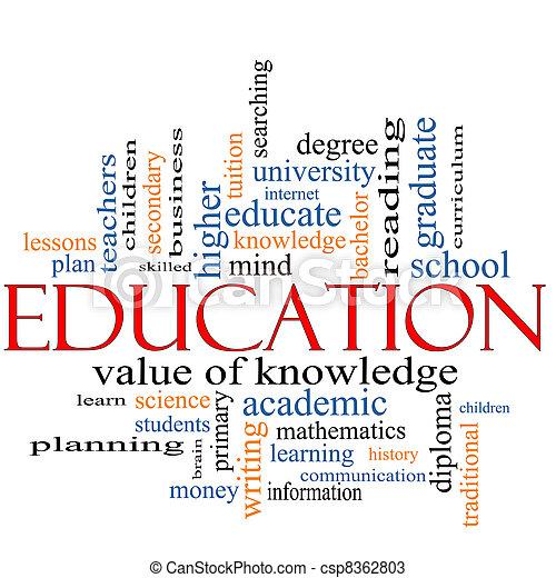 El concepto de la palabra de educación nube - csp8362803