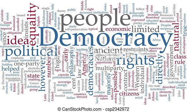 palabra, democracia, nube - csp2342972