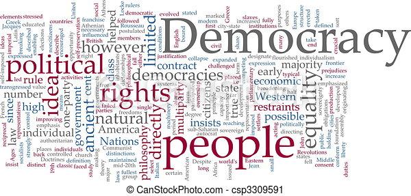 palabra, democracia, nube - csp3309591