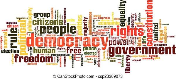 Nube de palabra de democracia - csp23389073