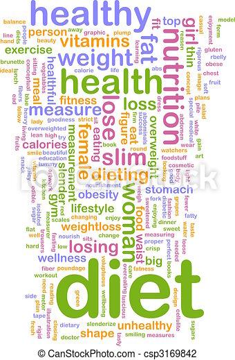 Nube de palabra dietética - csp3169842