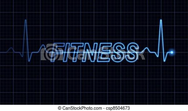 Electrocardiograma con palabra de fitness - csp8504673