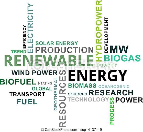 palabra, energía, -, nube, renovable - csp14137119