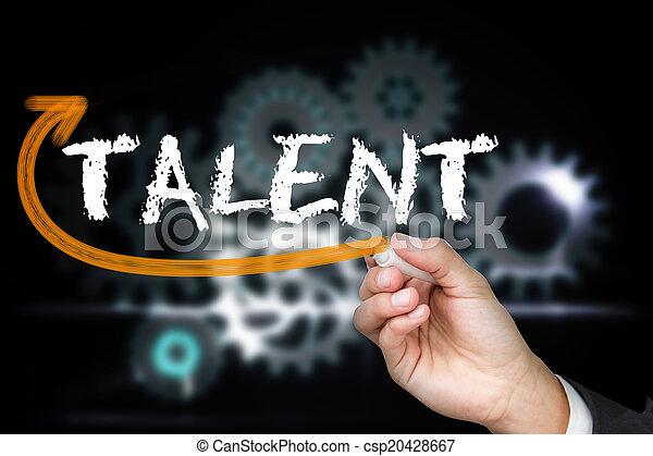 Empresario escribiendo la palabra talento - csp20428667