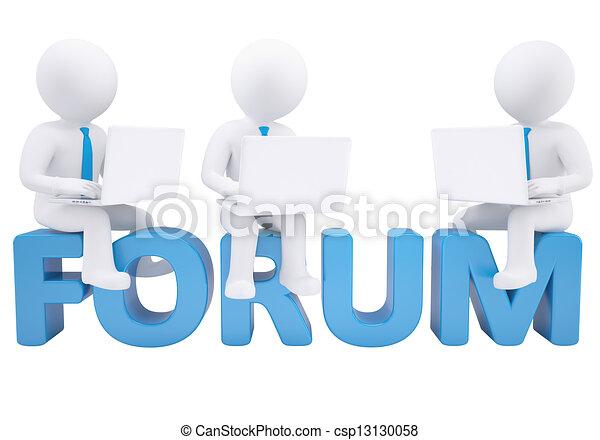 Hombre 3D sentado con un portátil en el foro de la palabra - csp13130058