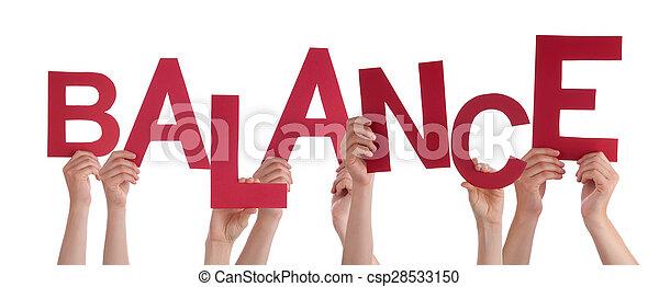 Mucha gente tiene el equilibrio de la palabra roja - csp28533150